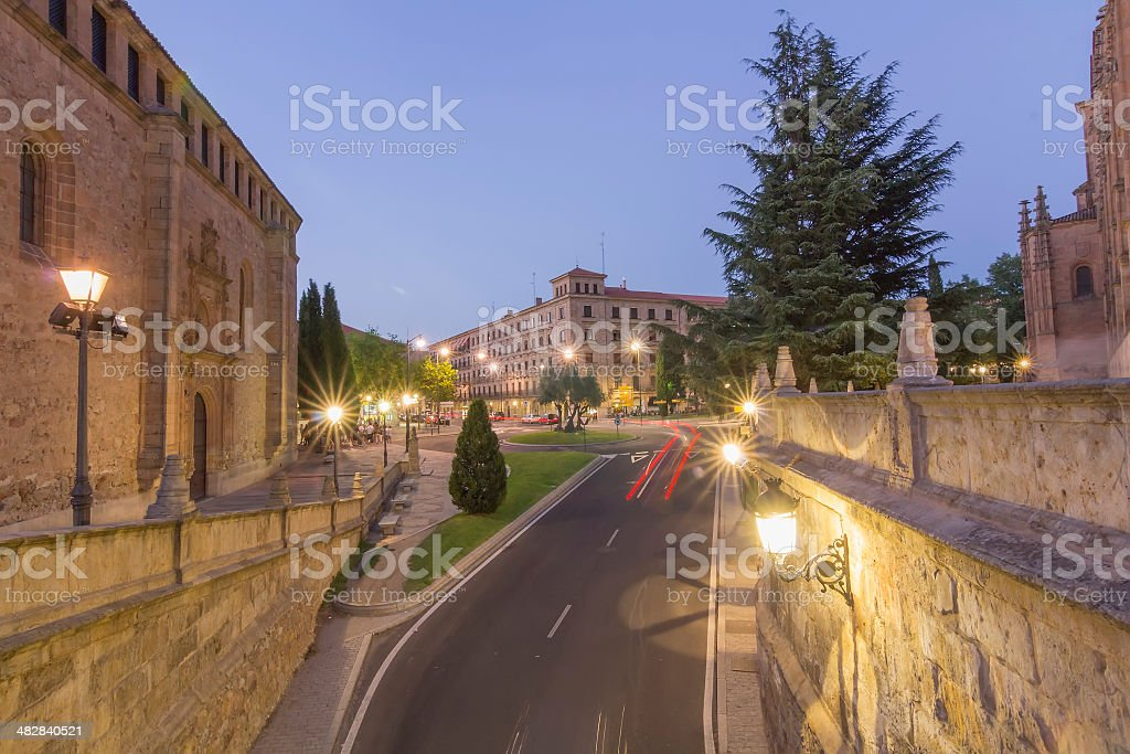 medieval buildings at night in the historic city of Salamanca stock photo