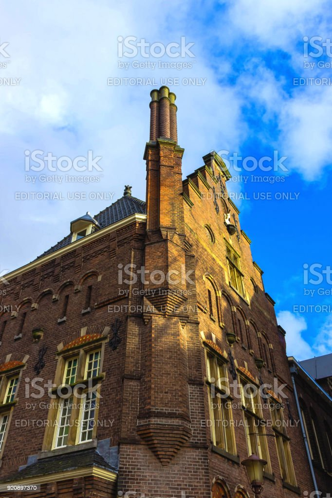 Medieval buildings in Amsterdam the Netherlands stock photo