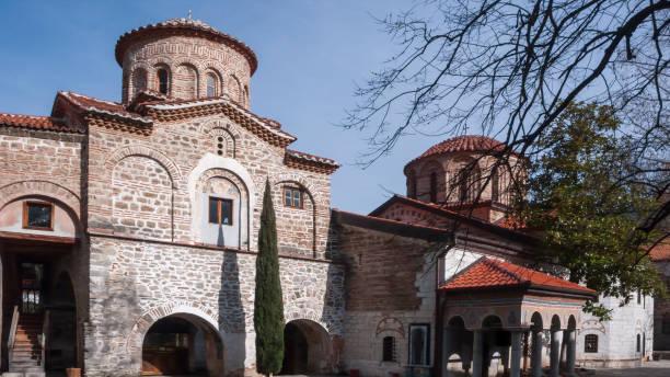 Bachkovo Manastırı 'nda ortaçağ binaları Tanrı 'nın annesi 'nin Dormition, Bulgaristan stok fotoğrafı