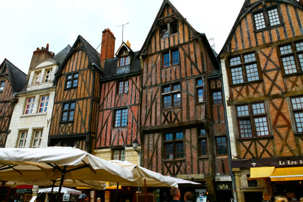 Medieval buildings in Tours, France.  The city of Tours is located in central-western France and is the administrative centre of the department of Indre-et-Loire.
