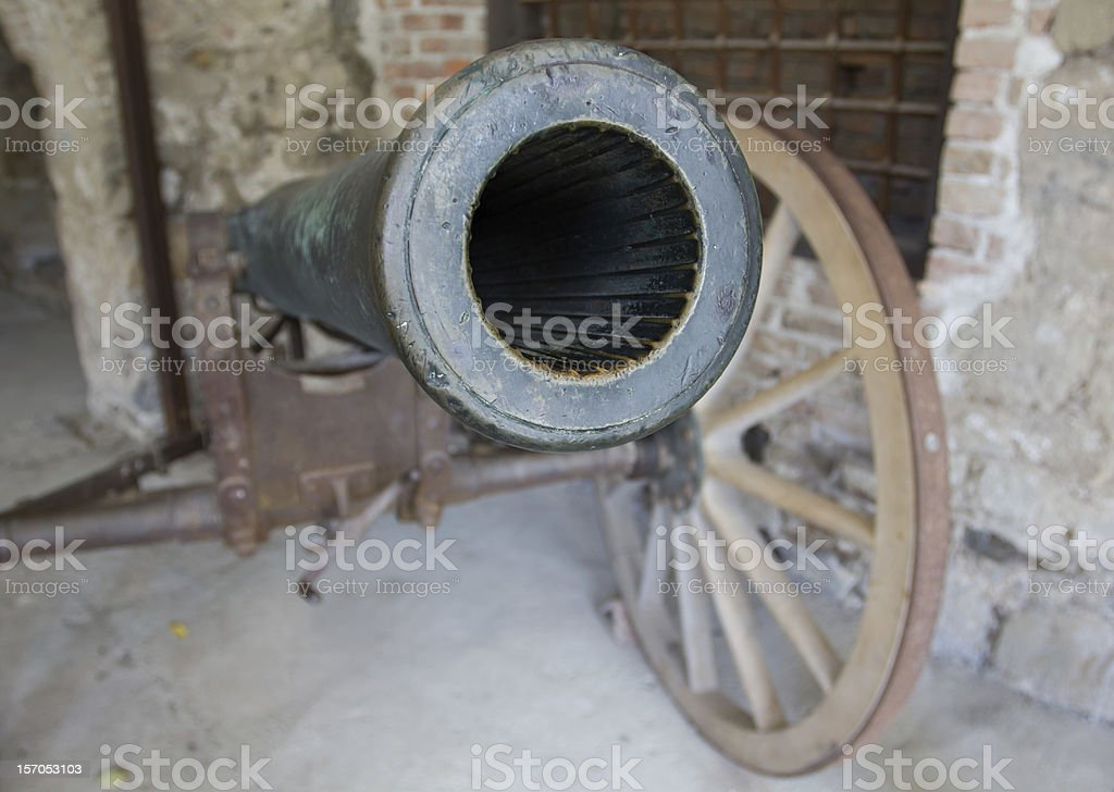 Medieval cannon in the Ljubljana Castle, Slovenia. stock photo