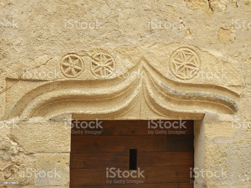 Medieval Carved Stone Lintel stock photo