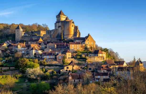 Medieval Castelnaud village and castle, Perigord, France stock photo