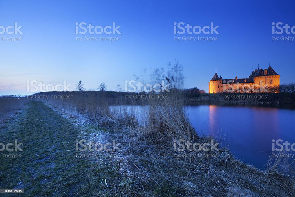 Medieval castle at dawn, Muiderslot, Muiden, The Netherlands royalty-free stock photo