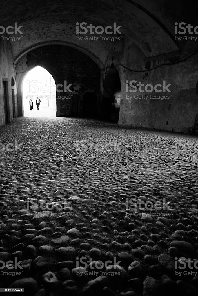 Medieval Castle, Black and White stock photo