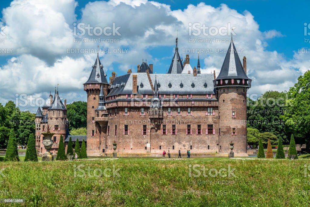 Medieval castle De Haar in Netherlands stock photo