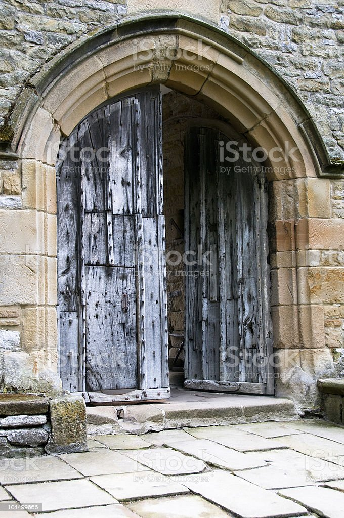 Medieval castle doorway stock photo