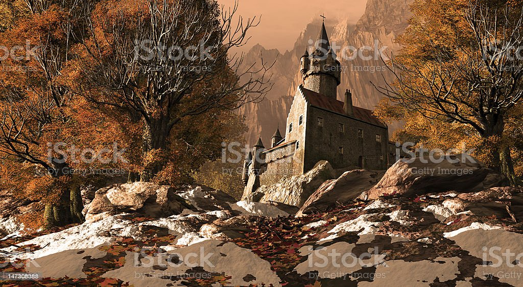 Medieval Castle Fortress In The Mountains royalty-free stock photo