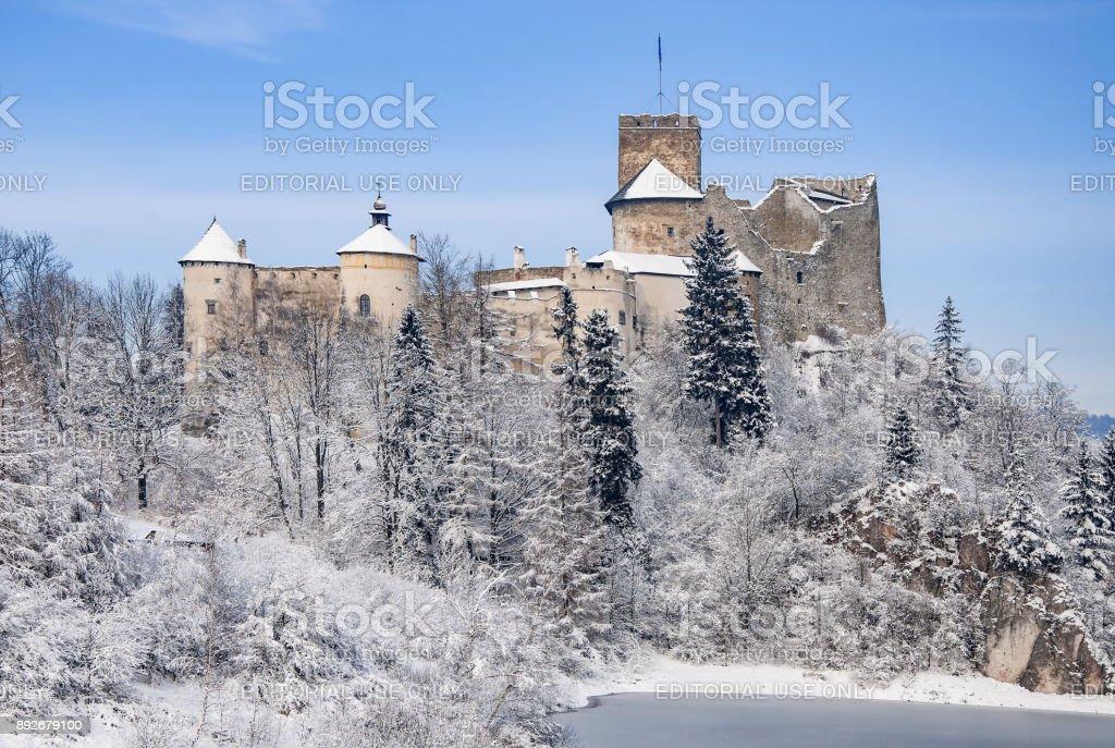 Medieval Castle in Niedzica, Poland, in winter stock photo