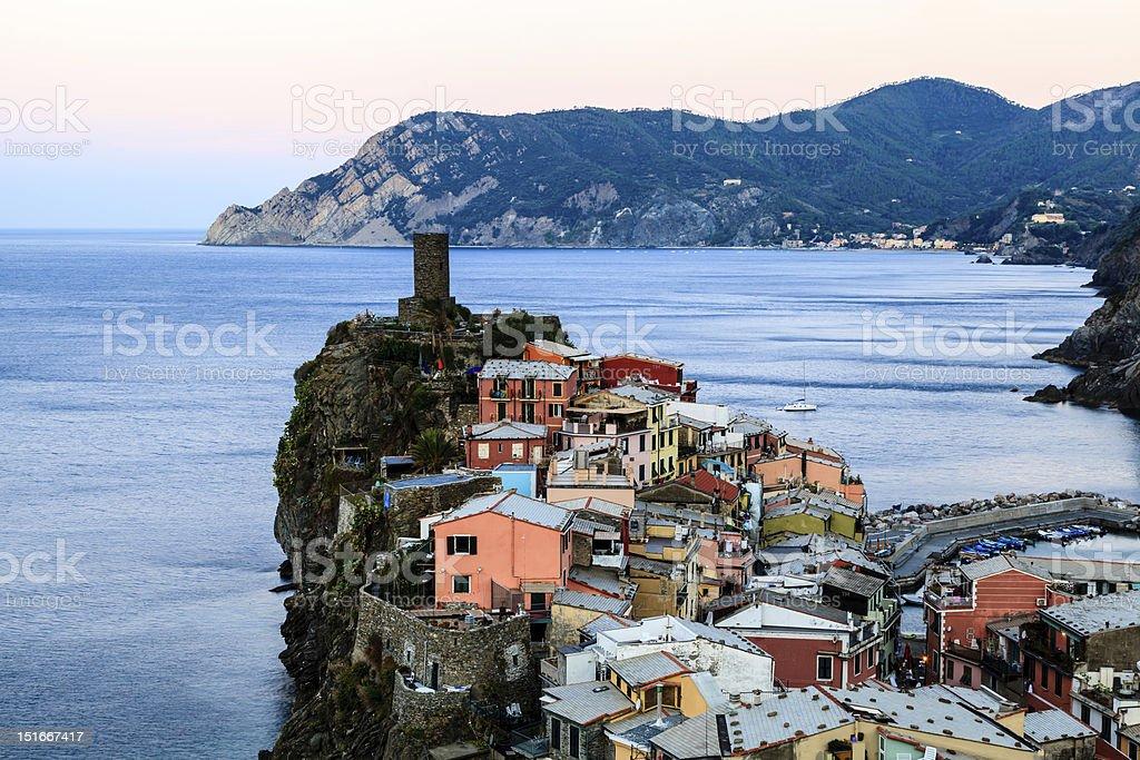 Medieval Castle in the Village of Vernazza, Cinque Terre stock photo