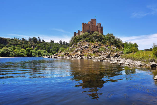 medieval castle of almourol in ribatejo, portugal - knights templar stock pictures, royalty-free photos & images