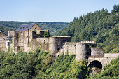 BOUILLON, BELGIUM - AUGUST 13, 2016: Medieval Castle of Bouillon in Belgian Ardennes near river Semois