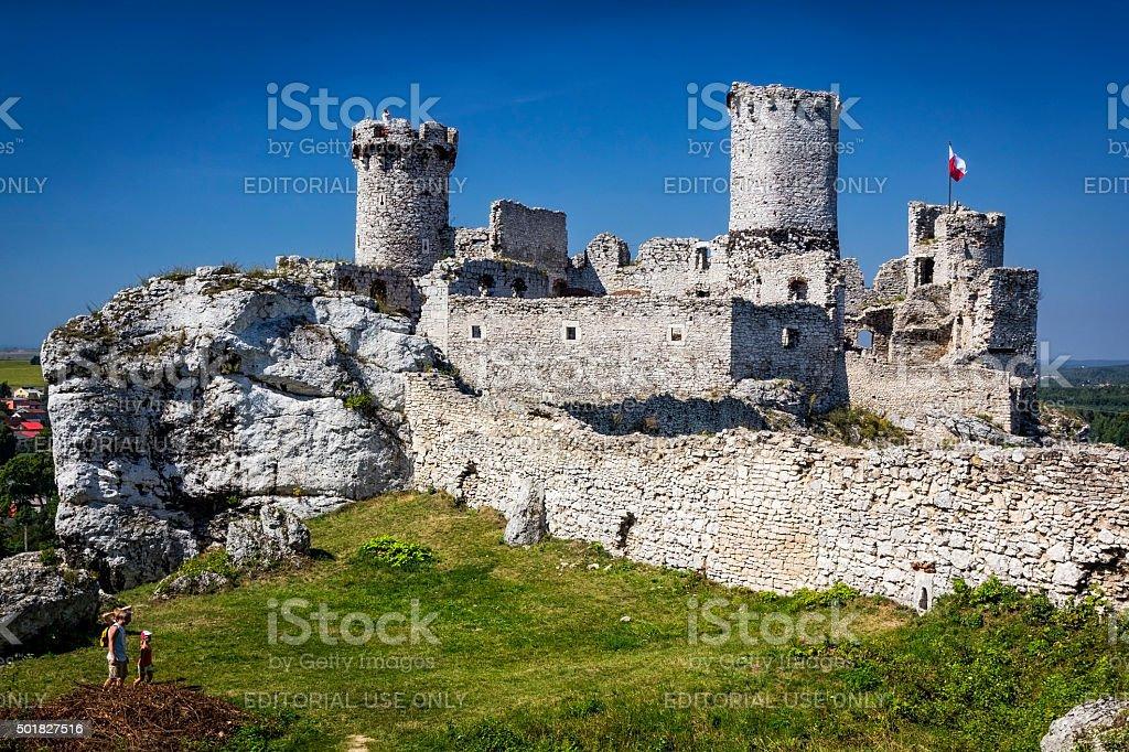 Medieval Castle on rocks, Poland stock photo