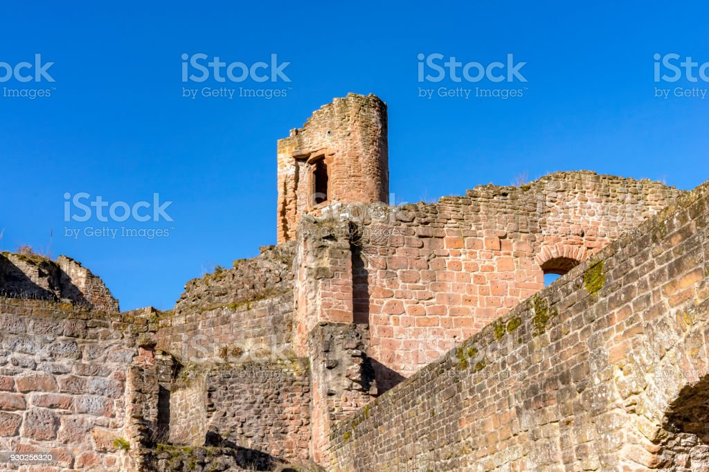 Medieval castle ruin in Germany. Rhineland Palatinate near Bad Duerkheim City. stock photo