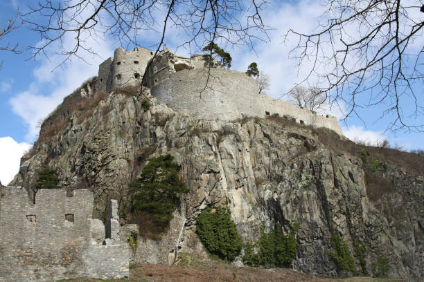 Singen, Germany - April 05, 2010: Medieval Castle Ruins at Hohentwiel hill, Singen, Singen, Germany - April 09, 2010: Medieval Castle Ruins at Hohentwiel hill, Singen, Germany singen stock pictures, royalty-free photos & images
