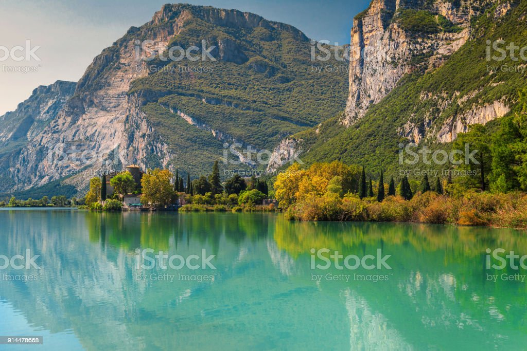 Medieval Castle Toblino on the shores of lake Toblino, Italy stock photo