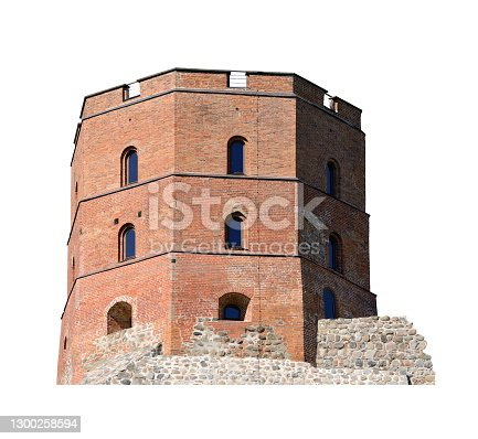 Medieval castle tower. Stronghold with massive guard tower. White background
