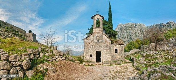 panorama of Chapel of Saint Ivan behind Kotor's Castle Of San Giovanni, Montenegro