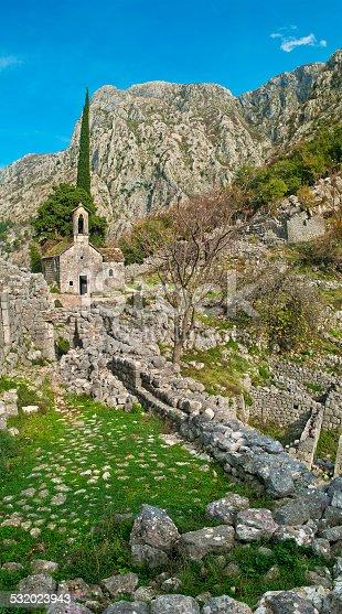 vertical panorama of Chapel of Saint Ivan in Kotor, Montenegro