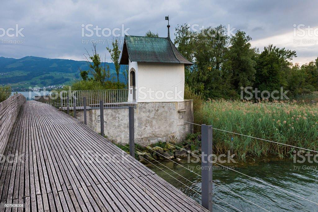 Medieval chapel in the upper lake Zurich, Sankt Gallen, Switzerland stock photo
