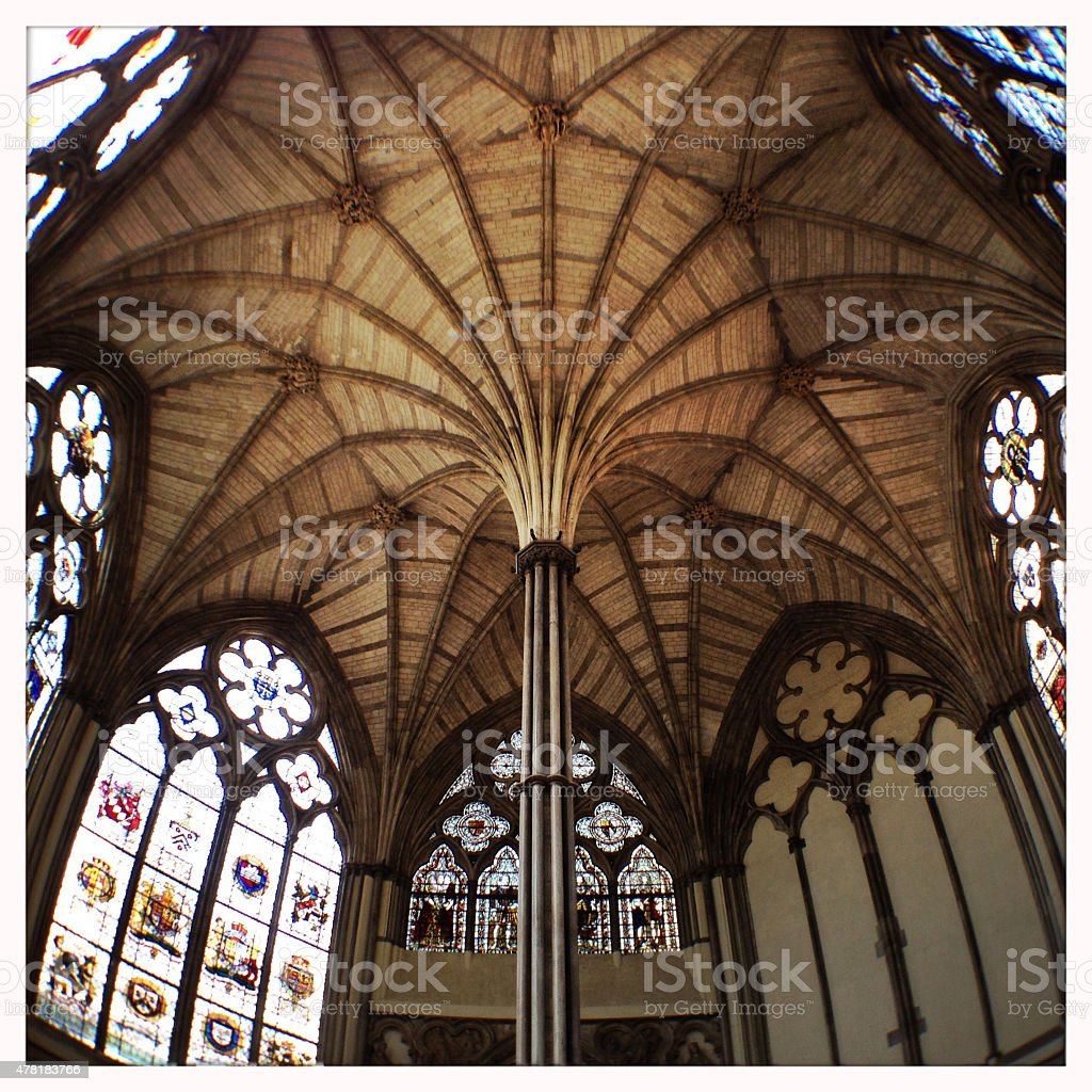 Medieval Chapter House, Westminster Abbey London stock photo