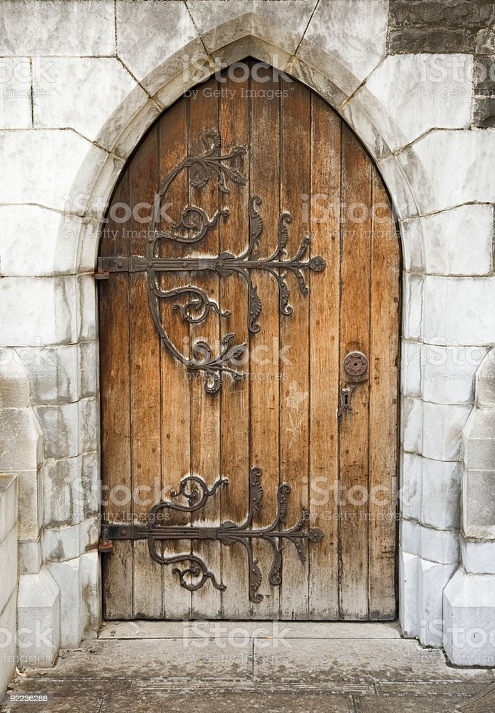 medieval church door stock photo