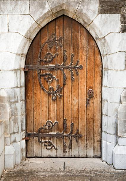 medieval church door stock photo