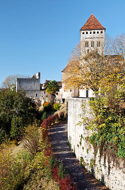 medieval church saint-andre in sauveterre-de-bearn village - bearn stok fotoğraflar ve resimler