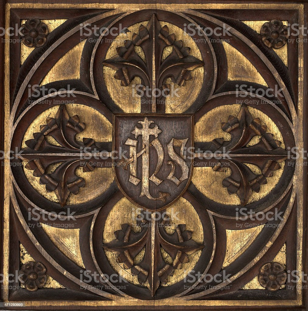 Medieval church wood carving stock photo