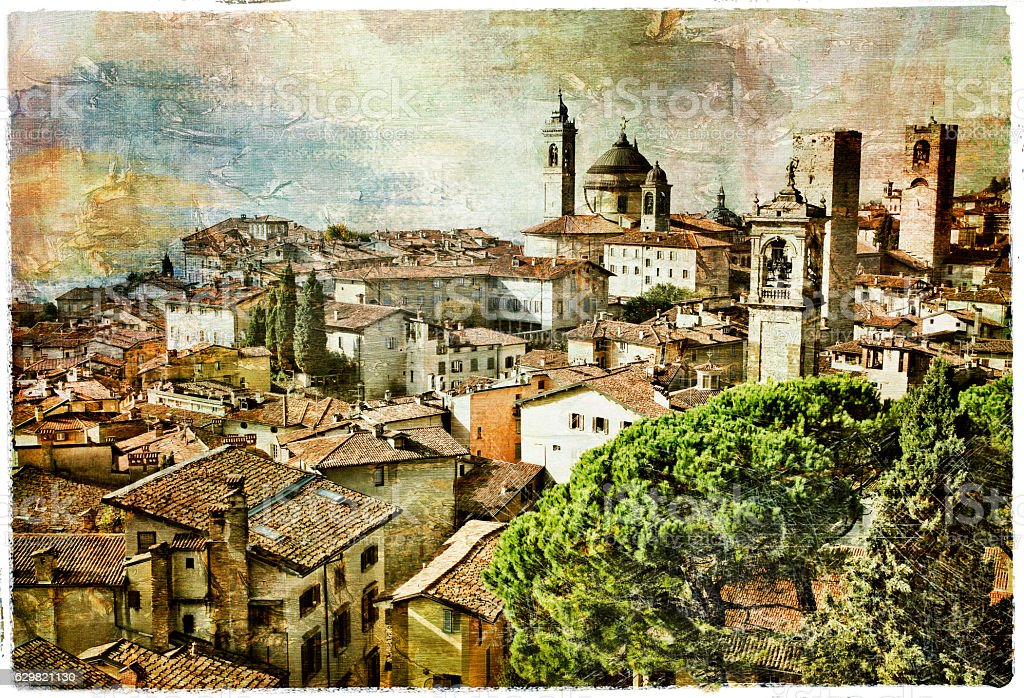 medieval cities of Italy - Bergamo, artwork in painting style stock photo