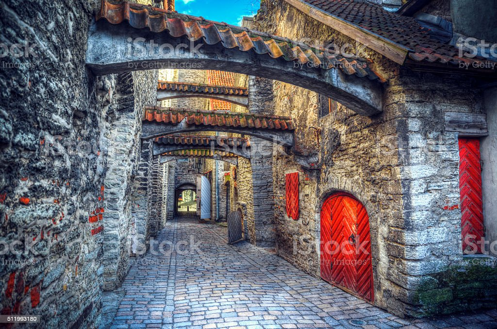 medieval city in Europe stock photo