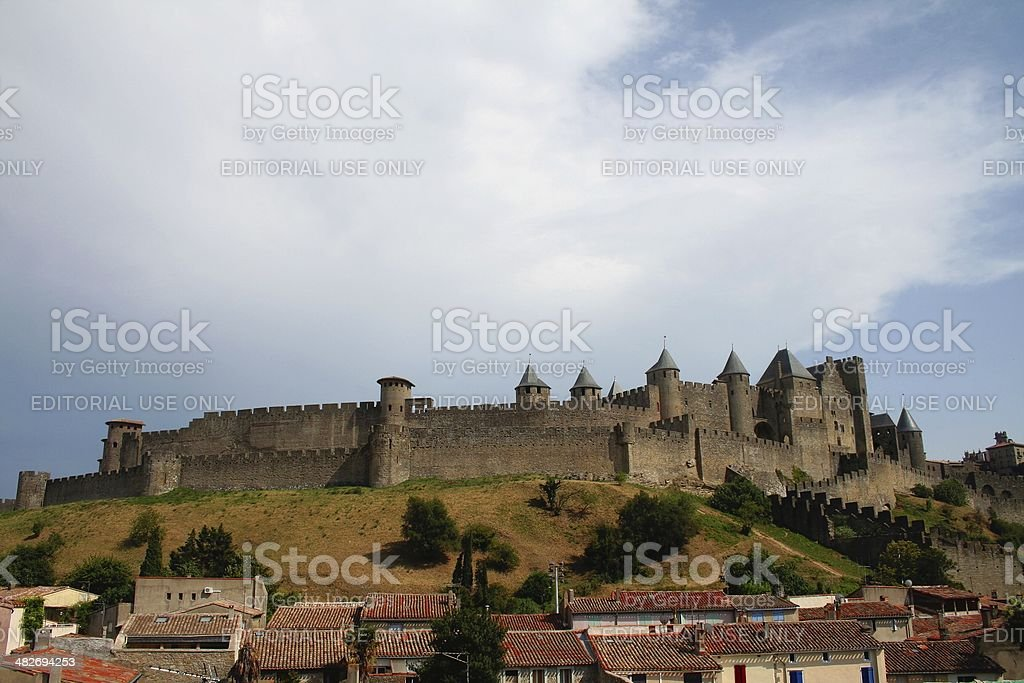 Medieval city of Carcassonne. stock photo