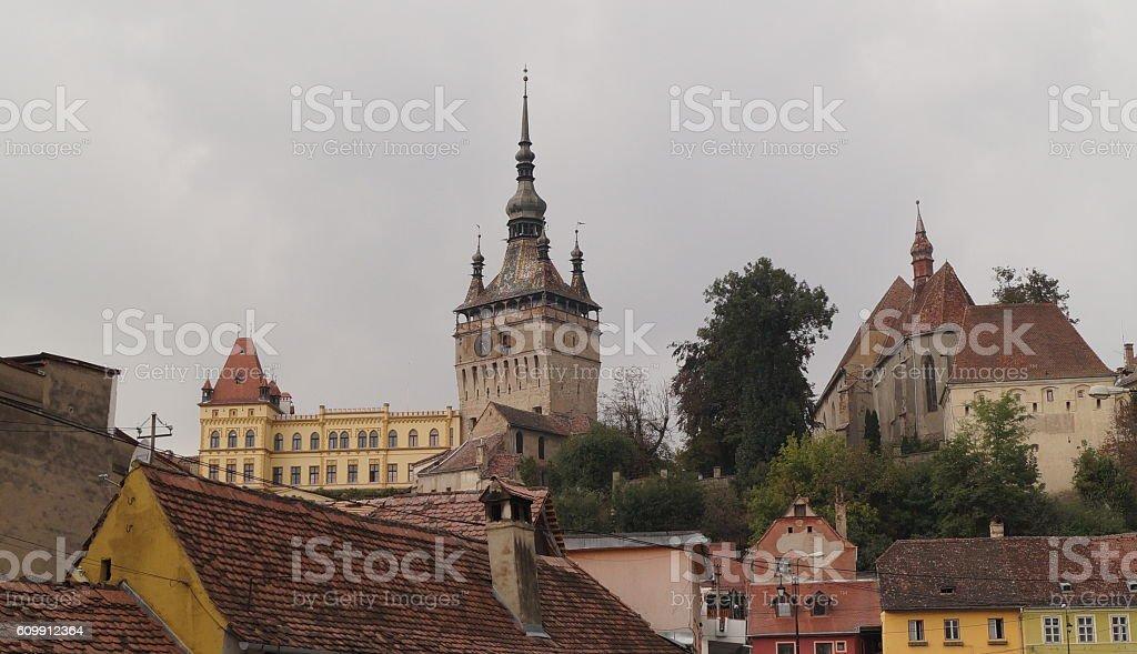 Medieval city of Sighisoara, Transylvania, Romania stock photo