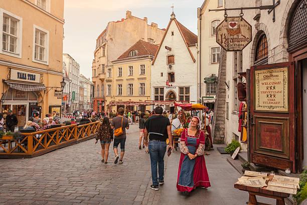 medieval city of tallinn - estonya stok fotoğraflar ve resimler
