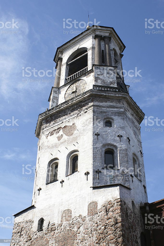 Medieval clock tower in Vyborg stock photo