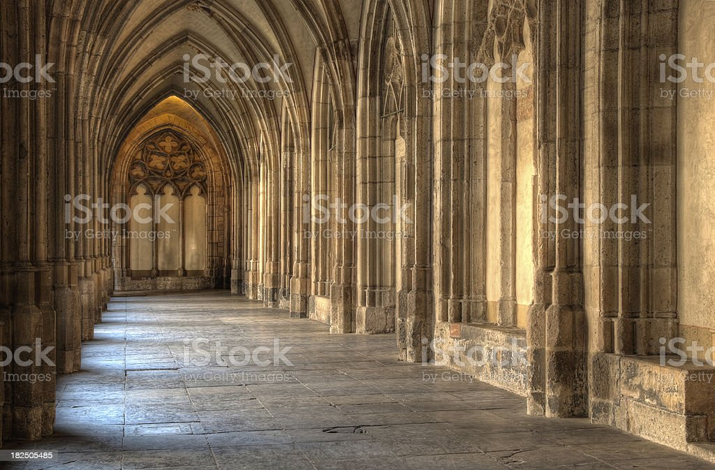 Medieval cloister - HDR stock photo