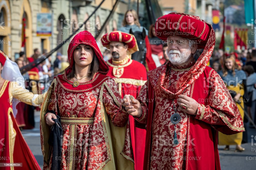 Medieval costumed parade in Alba, Italy. stock photo
