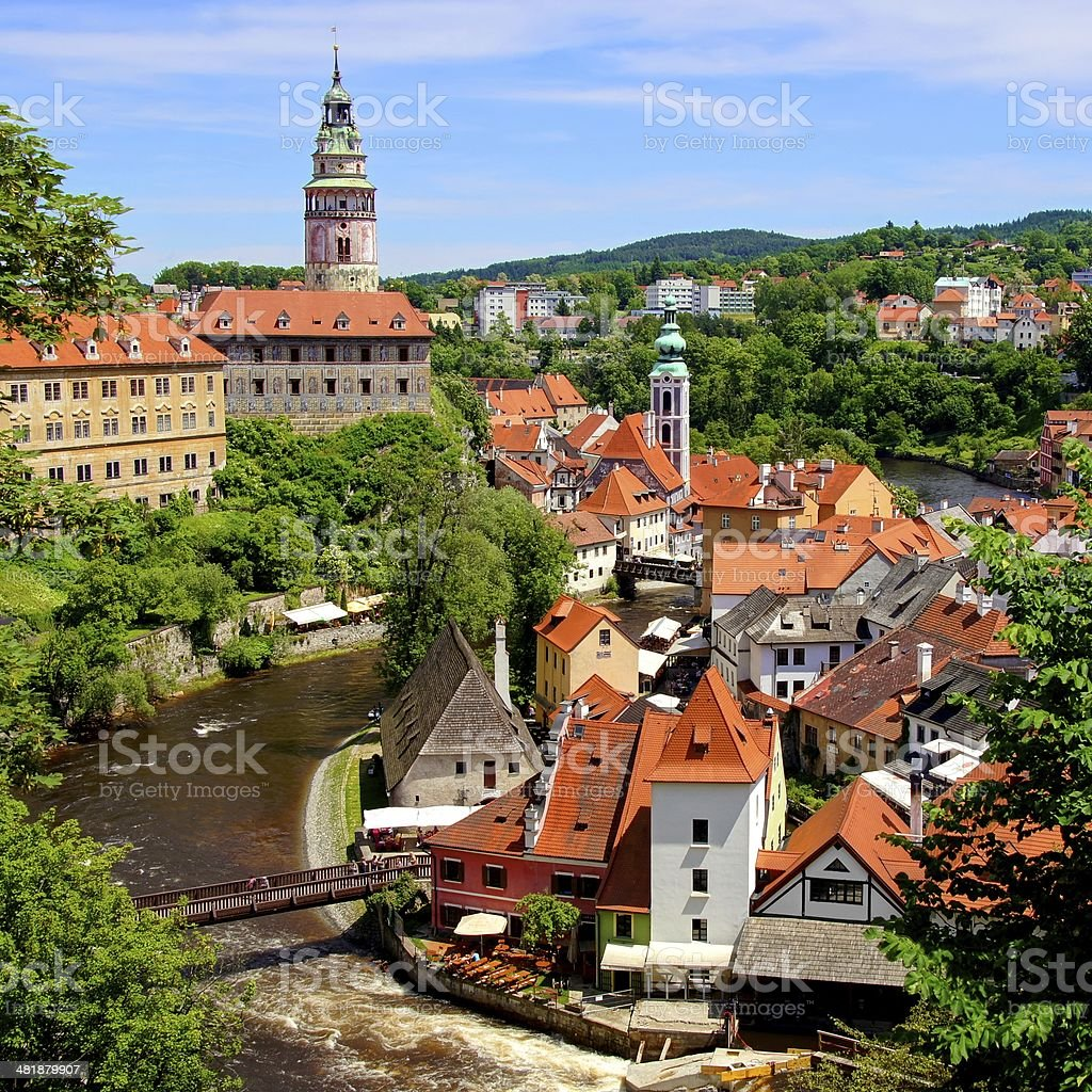 Medieval Czech town of Cesky Krumlov stock photo