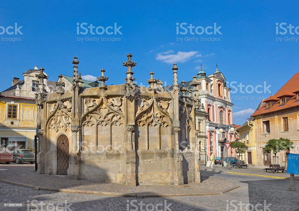 Medieval dodecagon-shaped stone fountain in Kutna Hora, Czech Republic stock photo