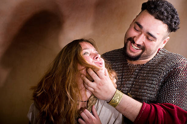 Medieval domestic violence concept stock photo