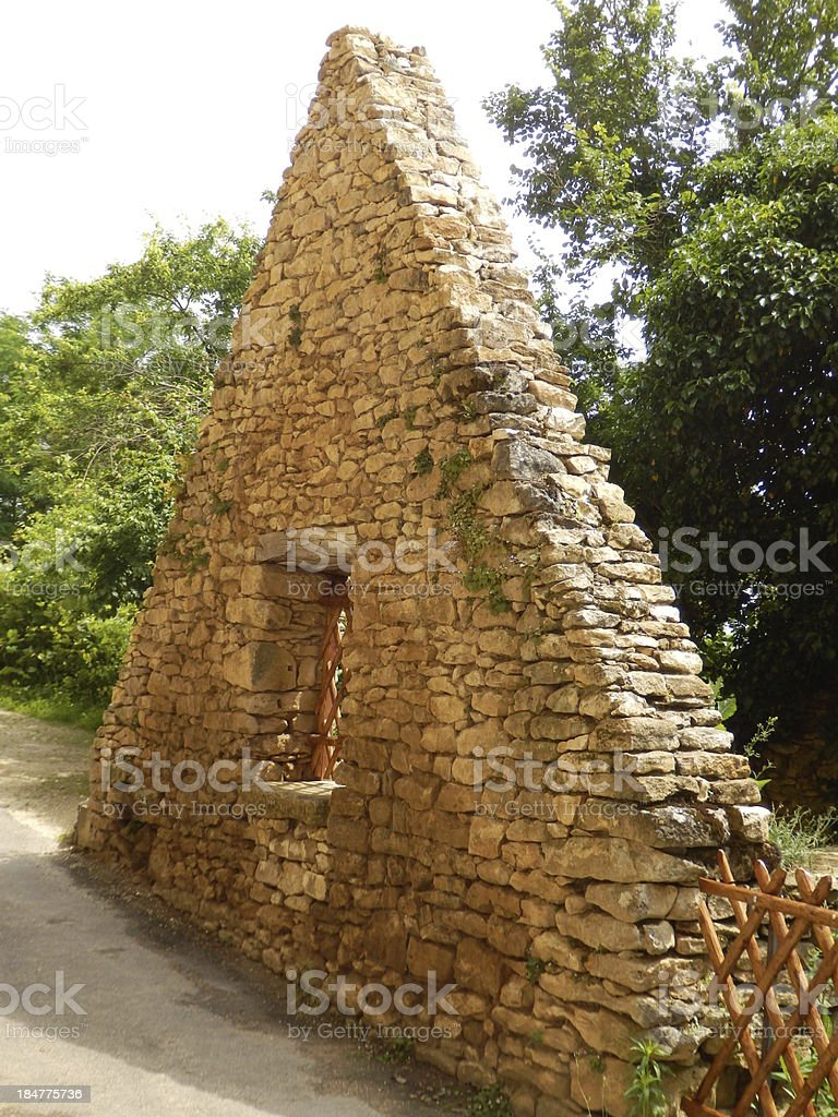 Medieval Dry-stone Gable End stock photo