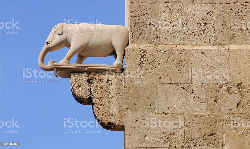 Medieval Elephant Statue stock photo