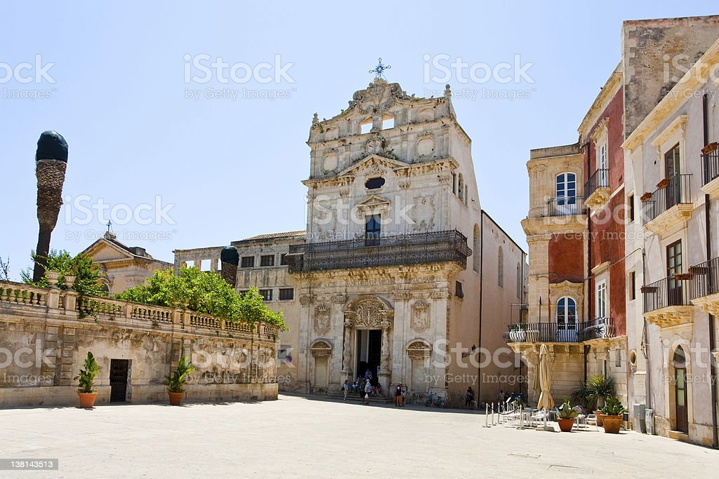 medieval Episcopal Palace in Syracuse stock photo