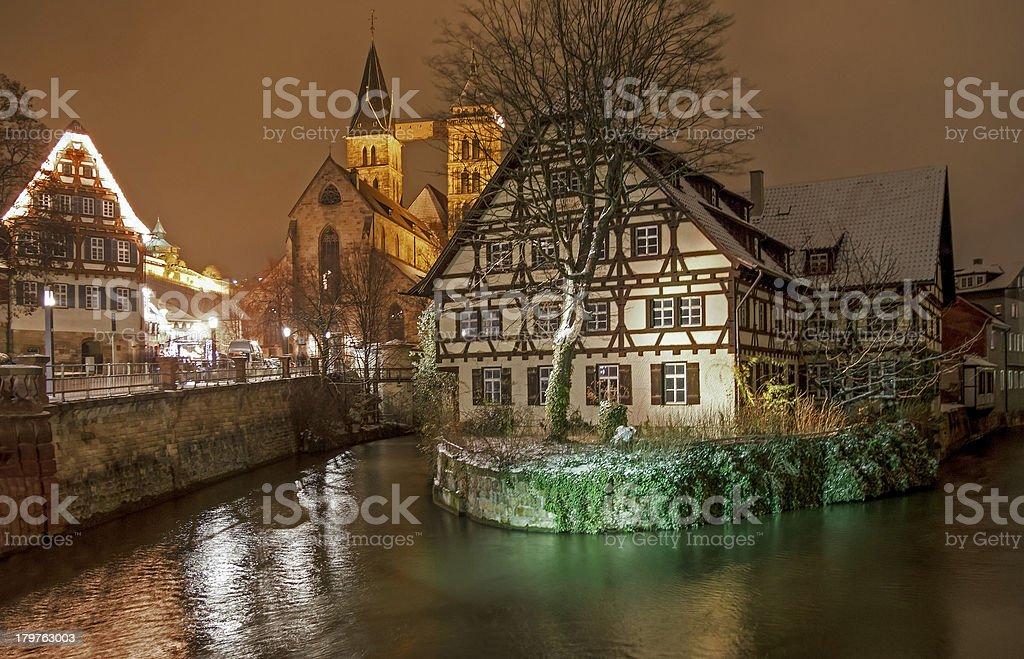 Medieval Esslingen by Night stock photo