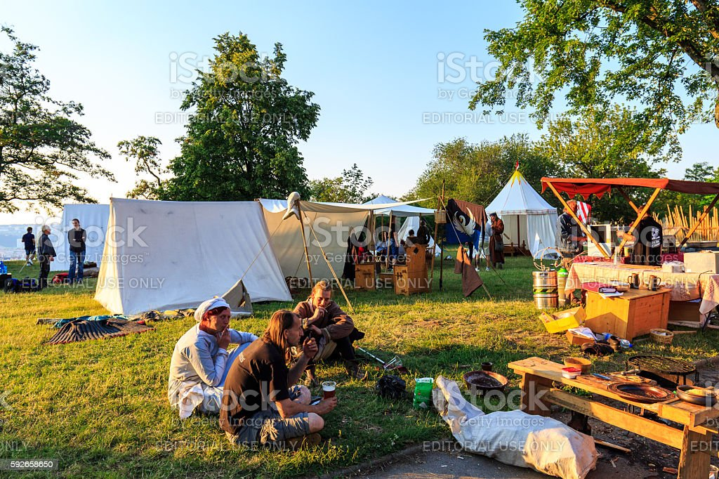 Medieval festival on Vitkov park in Prague stock photo