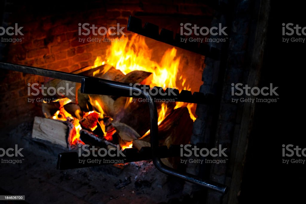 Medieval Fireplace With Spit royalty-free stock photo
