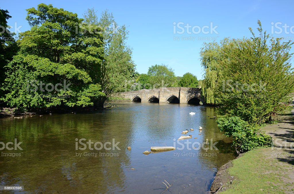 Medieval five-arched bridge at Bakewell stock photo