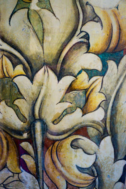 mittelalterliche floral fresko muster hintergrund - gothic bilder stock-fotos und bilder