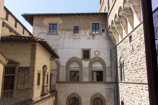 Middeleeuwse Florentijnse Gebouw Uitzicht Vanaf De Top Van Palazzo Vecchio Florence Toscane Italië Stockfoto en meer beelden van Archiefbeelden