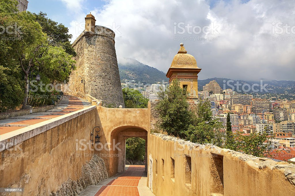 Medieval fortification and view of Monte Carlo. stock photo